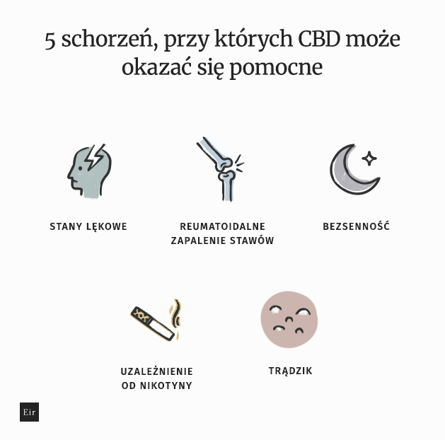 Lecznicze właściwości CBD- CBD łagodzi stany lękowe, reumatoidalne zapalenie stawów, bezsenność, uzależnienie od nikotyny, trądzik